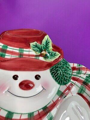 Fitz and Floyd Plaid Christmas Snowman Canape Plate Ceramic Holiday Essentials 6
