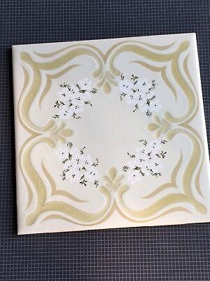 Vintage New Porcelain Floral Glazed Tile By Marca Incepa Made In Brazil 🇧🇷 3