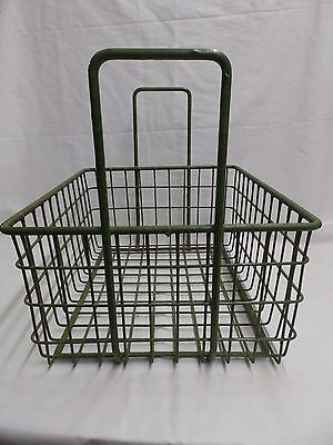 Vintage Small Kelly Green Coated Wire Basket With Handles Old Steampunk 3987-14 2