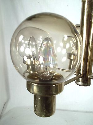 Mid Century Modern 5 Light Brass Chandelier With Tinted Glass Globes 2