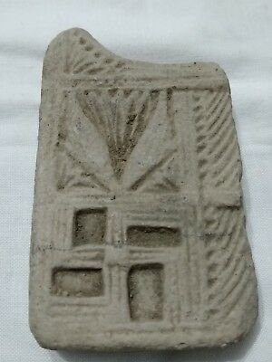 RARE Ancient Indian Clay Tablet Decorated with Swastika and Ornate Patterns!! 2