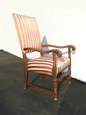 Antique Red & White Striped Silk Accent Arm Chair Floral Design Carved Wood 3