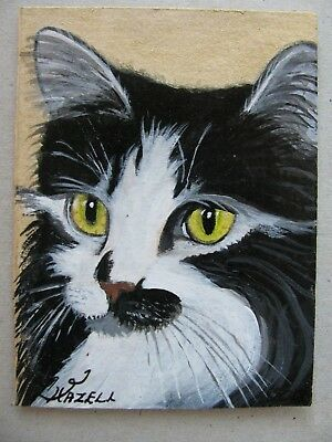 """A834        Original Acrylic Aceo Painting By Ljh  """"Frankie""""  Cat  Kitten 3"""