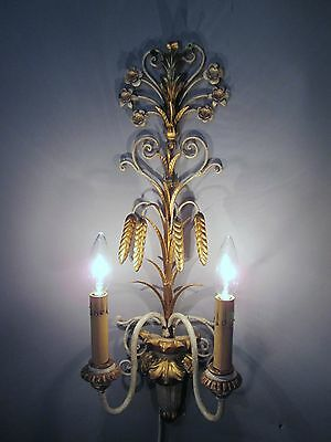 "Vintage Antique Pair Italian Tole Wheat Gold Gilt Wall Sconce Lights  22"" x 9"" 3"