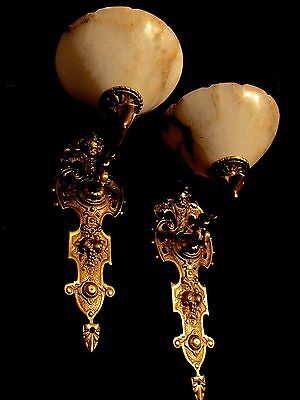 pair wall lights sconces angel face solid bronze real alabaster antique finished 3