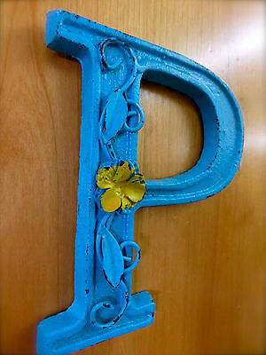 """BLUE CAST IRON WALL LETTER """"P"""" 6.5"""" TALL rustic vintage decor sign child nursery 3"""