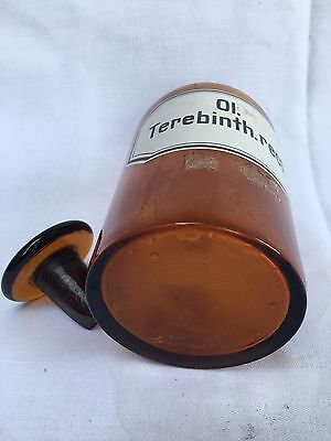 alte Apothekerflasche Braunglas Gefäß Apotheke 18cm Ol. Terebinth.rect. #48 5