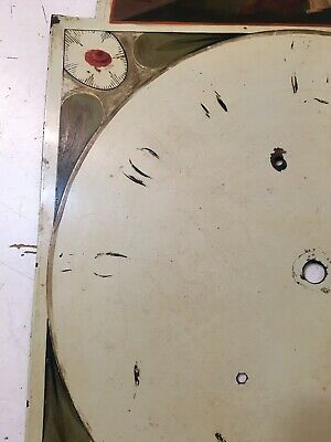 Beautiful Antique Grandfather Clock Dial Hand Painted Lady Of Justice W/ Lion 9