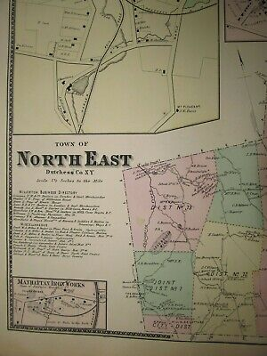 Original 1867 Map - North East, New York from Beers County Atlas 2