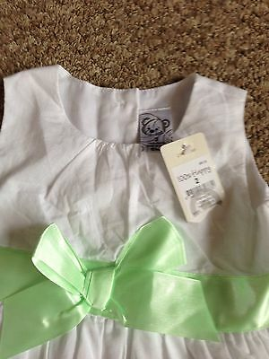 BNWT Target White With Green And Pink Roses Dress And Pants Set Age 2 3