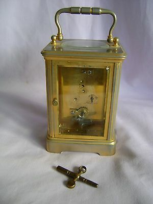 ANTIQUE c1880 FRANCOIS ARSENE MARGAINE TIMEPIECE CARRIAGE CLOCK + KEY IN GWO 7
