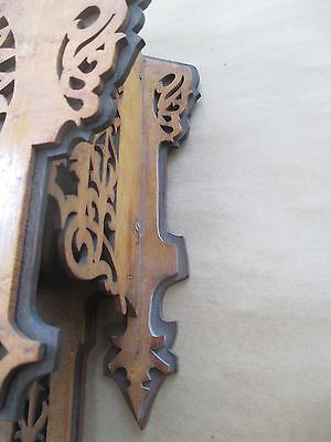 Antique GOTHIC wall clock BLACK FOREST - FRET WORK  bird's eye maple and exotic 10