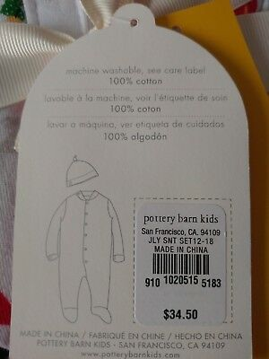 Pottery Barn Kids Jolly Santa Nursery One Piece Pajama /& Hat Set 12-18 Month NIB