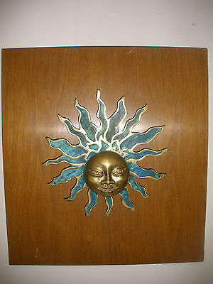 Rare Door Handle? Mid Century sign Pepe Mendoza Mexico Sun Face sculpture plaque 2