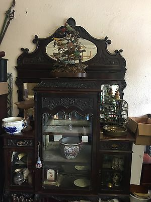 STUNNING MIRROR BACKED EMPIRE CABINET CARVED GLASS DISPLAY 7ft ANTIQUE 7