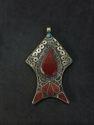 Beautiful Design Afghani Silver Plated Pendent With Red Agate stone #2D 5