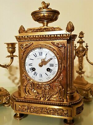 19Th Century French Ormolu Bronze Mantel Clock Garniture. 8