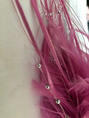Violet Hackle Biot Grass And Silver Pearl Feather Millinery Fascinator Mount 4