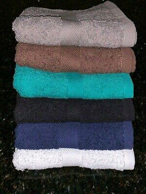 120 NEW BLACK SALON SPA GYM TOWELS DOBBY BORDER RINGSPUN 16X27 3LBS PREMIUM
