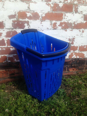 Value Plastic Shopping Trolley Basket (38L) Blue. On Wheels Castors. 4