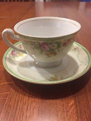 Grace China Tea Cup Saucer Gold Rim White Porcelain Formal Garden Coffee Japan 2