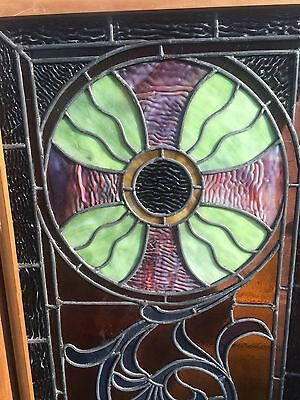 Pair FINE ANTIQUE STAINED GLASS WINDOWS 2