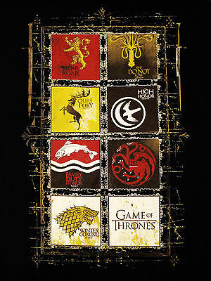 Game of Thrones House Crests 8 Lannister Stark TV Official Black Mens T-shirt 3