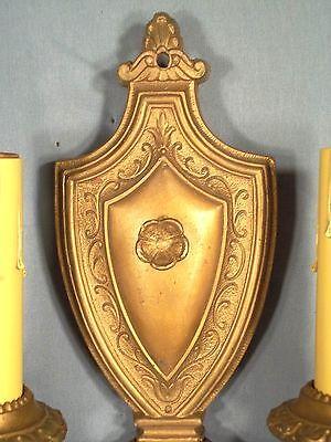 Pair Of Victorian Art Nouveau Art Deco Gold Metal Shield Back Double Arm Sconces 8