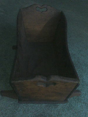 Vintage Early American Cherry Pine Baby Doll Cradle Bassinet Rocker. 7