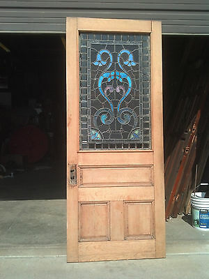 1/2 stained/beveled/jeweled stripped entrance door   (ED 4) 8