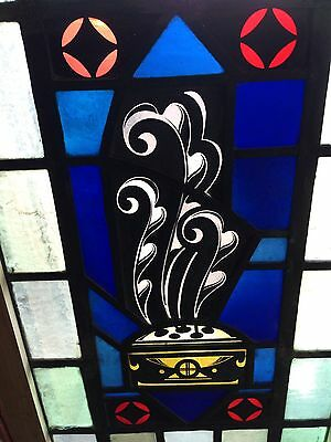 Sg 14 Antique Painted And Fired Stainglass Window With Symbols Feather
