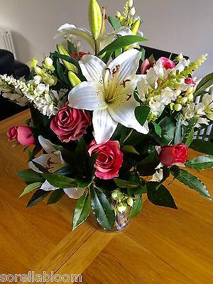 Large Artificial Flowers Vase Arrangement Pink Rose Lily Bay