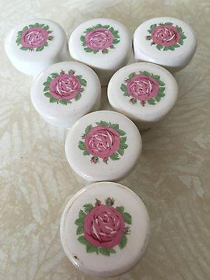 Vintage Salvage White Ceramic Pink Rose Drawer Pulls Qty Of 7 9