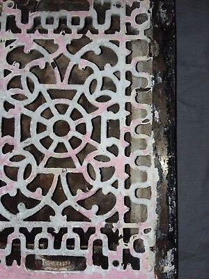 Antique Cast Iron Floor Wall Heat Grate 14x10 Louvres Victorian Design  100-18F 2