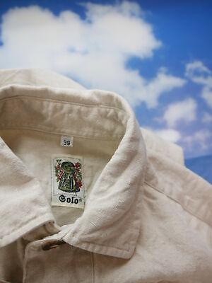 Gr.M Trachtenhemd Solo Leinen beige mit Knebelknopf Trachten Hemd TH1607 3