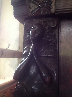 17th Century Carved Oak Library Bookcase Flemish Lion Head Pussy Oak Angels Pray 5