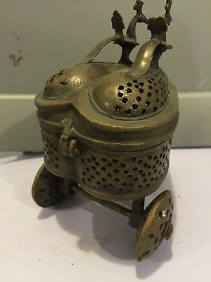 Reliquary Antique Brass Religious Incense Trolley From Cathedral In Europe 5