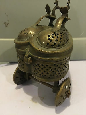 unknown ANTIQUE BRASS RELIGIOUS INCENSE TROLLEY  EUROPE 5