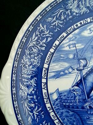 500th Anniversary PLATE Discovery 1492 Columbus Blue And White Ship Nikko Co