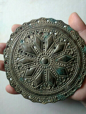 Ancient Byzantine bronze gilded ornament/adornment handmade carved details 2