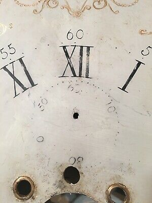 Beautiful Antique Painted Iron Grandfather Clock Dial C. 1800's Scroll Decor 8
