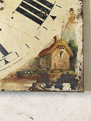 Antique Grandfather Clock Dial Hand Painted Cabin Decoration 1800's 3
