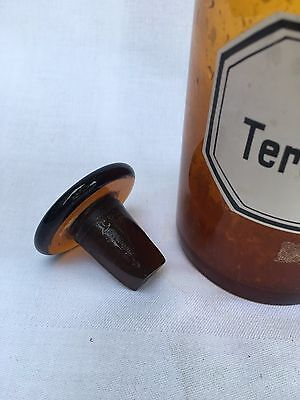 alte Apothekerflasche Braunglas Gefäß Apotheke 18cm Ol. Terebinth.rect. #48