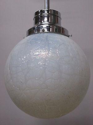 """Vintage Antique Art Deco Chrome Pendant Light Opal Crackle 12"""" Shade 41"""" Long A 7"""