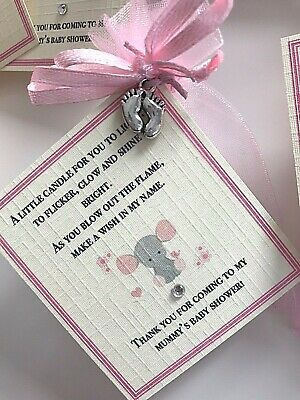 *Baby Shower Favour Candle* 10 pack Gift Cute Baby Girl Pink Elephant Owl 2