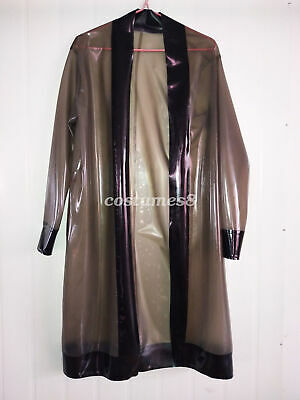 100% Latex Rubber Full-Body Long Coat Hooded Rain Catsuit Fashion Size S-XXL 8