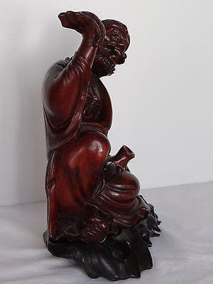 Escultura Estatuilla Japonés de Madera Hierro Ojos Sulfuro Shapes Mano 1900 C424 10