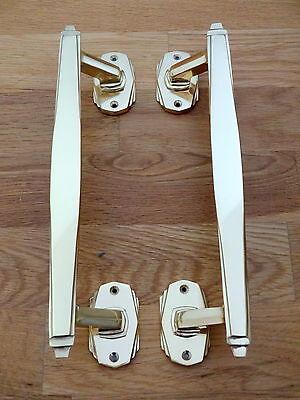 3 Pairs Of Brass Art Deco Door Pull Handles Knobs Plates Finger Push 2