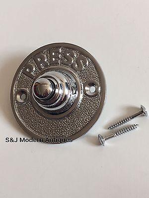 Round Door Bell Antique Mains Wire Vintage Push Button Chrome Victorian Doorbell 8