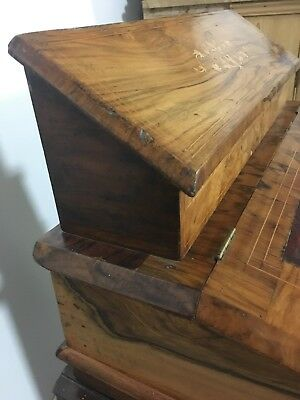 Antique victorian burr Walnut Inlaid Table Top Writing desk 8